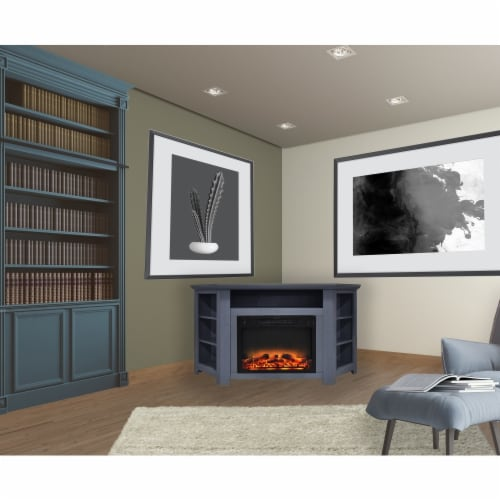 Cambridge CAM5630-1SBLLG2 56 in. Electric Corner Fireplace in Slate Blue with Enhanced Firepl Perspective: front