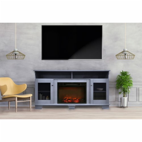 Cambridge CAM6022-1SBL 59 in. Electric Fireplace in Slate Blue with Entertainment Stand & Cha Perspective: front