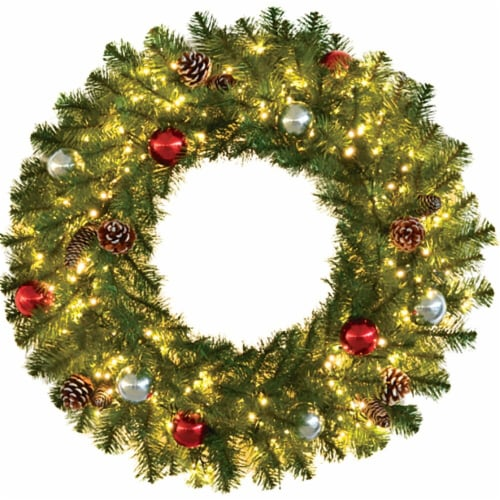 Fraser Hill Farm Christmas Wreath with Ornaments and Lights Perspective: front