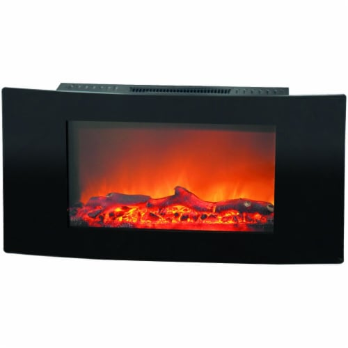 Cambridge Callisto Curved Wall Mount Electric Fireplace Perspective: front