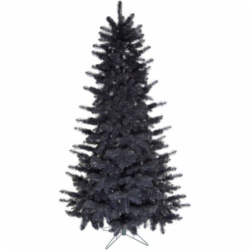 Fraser Hill Farm 7-ft Festive Tinsel Tree - Black Perspective: front