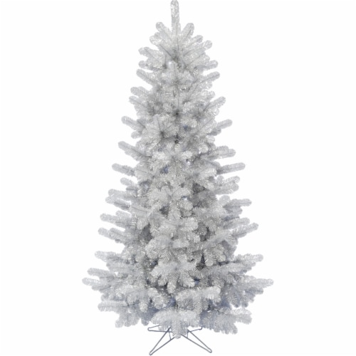 Fraser Hill Farm 7-ft Festive Tinsel Christmas Tree - Silver Perspective: front