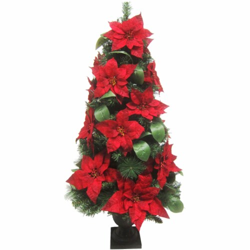 Fraser Hill Farm 4-ft Velvet Poinsettia and Leaf Accents Christmas Porch Tree Perspective: front