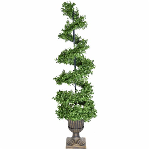 Fraser Hill Farm Gold Urn Pot 5-ft Spiral Porch Tree Perspective: front