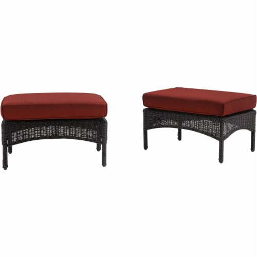 Hanover San Marino Ottoman & Cushion Set - Red Perspective: front