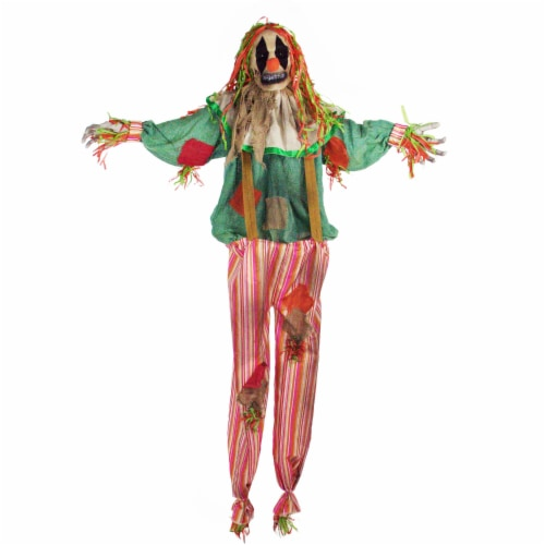 Haunted Hill Farm Animatronic Scarecrow Clown Halloween Decoration Perspective: front