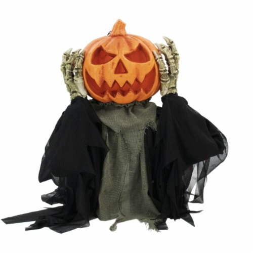 Haunted Hill Farm Animatronic Pumpkin Head Halloween Decoration Perspective: front