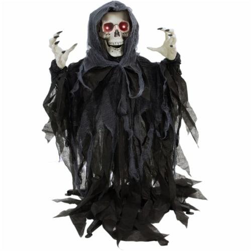 Haunted Hill Farm Animatronic Reaper Skeleton Halloween Decoration Perspective: front