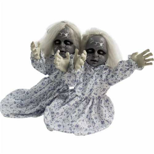 Haunted Hill Farm Animatronic Zombie Twins Halloween Decoration Perspective: front