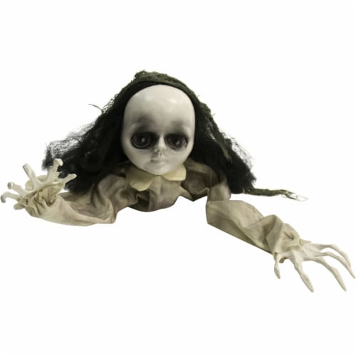 Haunted Hill Farm Animatronic Doll Halloween Decoration Perspective: front