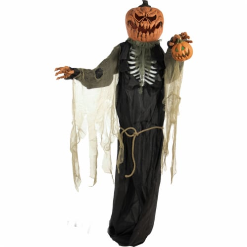 Haunted Hill Farm Animatronic Pumpkin Man Halloween Decoration Perspective: front