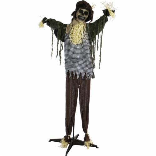 Haunted Hill Farm Animatronic Scarecrow Halloween Decoration Perspective: front