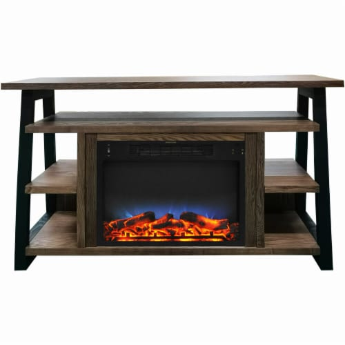 Cambridge CAM5332-1WALLED 53.1 x 15.6 x 31.7 in. Sawyer Fireplace Mantel with Log LED Insert Perspective: front