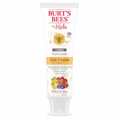 Burt's Bees for Kids Fruit Fusion Flavor Fluoride Natural Toothpaste Perspective: front