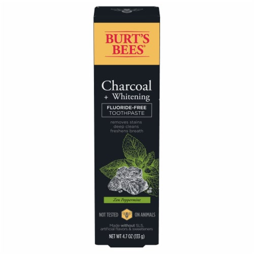 Burt's Bees Zen Peppermint Charcoal Fluoride-Free Natural Toothpaste Perspective: front