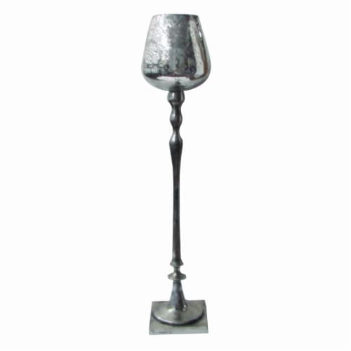 Benzara Aluminum Candle Holder - Silver Perspective: front