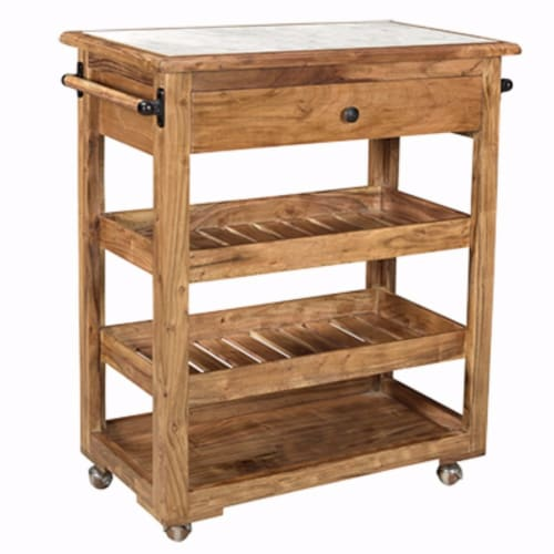 Spacious and Sturdy Kitchen Island With Marble Top, Brown Perspective: front