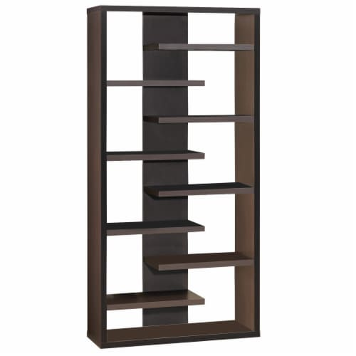 Benzara BM156234 70.75 x 35 x 11.75 in. Expressive Wooden Bookcase with Center Back Panel Perspective: front