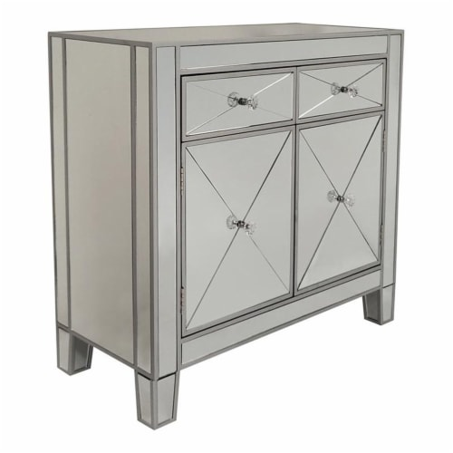 2 Door Storage Cabinet with 2 Drawers and Mirror Inserts, Gray and Silver ,Saltoro Sherpi Perspective: front