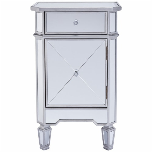 1 Door Storage Cabinet with 1 Drawer and Mirror Inserts, Gray and Silver ,Saltoro Sherpi Perspective: front