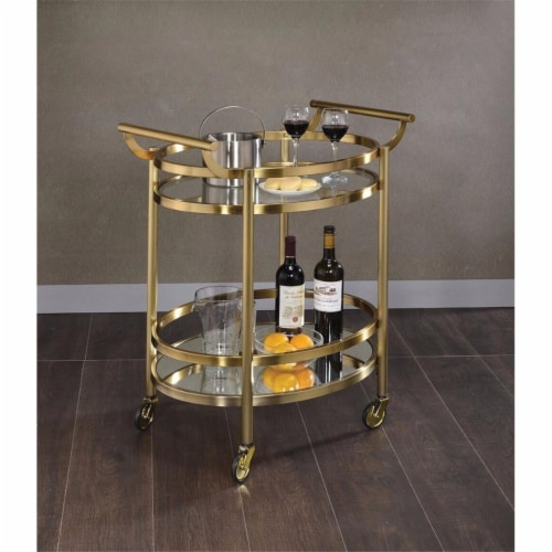 Benzara BM158855 Oval Metal Serving Cart, Clear Glass & Gold Perspective: front