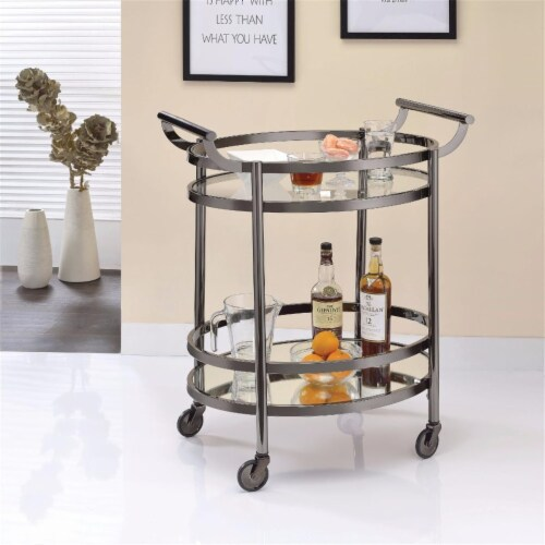 Benzara BM158856 Oval Metal Serving Cart, Clear Glass & Black Nickel Perspective: front