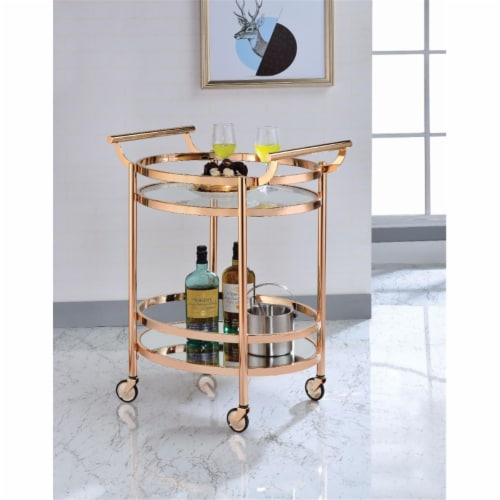 Benzara BM158857 Oval Metal Serving Cart, Clear Glass & Copper Perspective: front