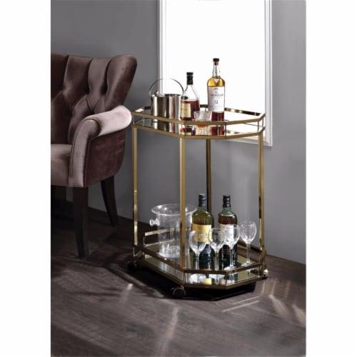 Benzara BM158858 Metal Serving Cart, Mirror & Gold Perspective: front