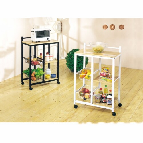Storage Kitchen Cart, White & Natural Brown Perspective: front