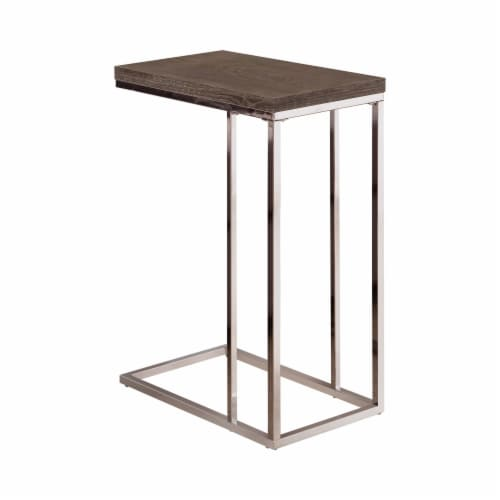 Benzara Rectangular Wooden Snack Table With Metal Base - Gray/Silver Perspective: front