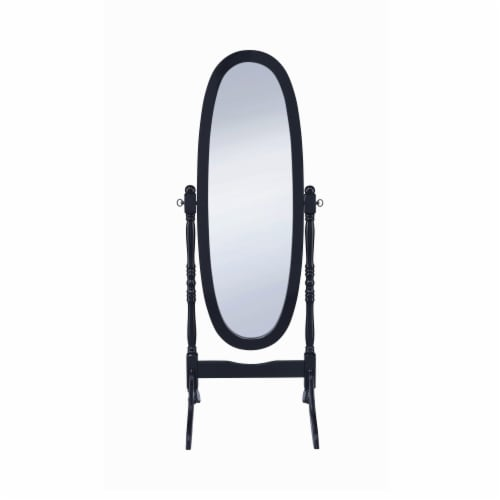 Benzara Aesthetically Charmed Oval Shaped Cheval Mirror - Black Perspective: front