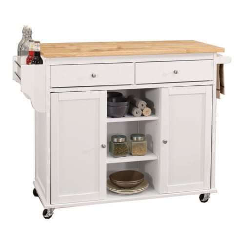 Kitchen Cart With Wooden Top, Natural & White Perspective: front