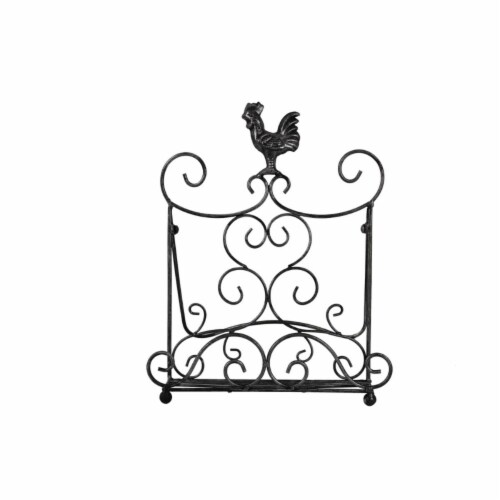 Benzara C482-MTL0011 Antique Metal Cook Book Holder & Stand with Rooster, Bronze Perspective: front