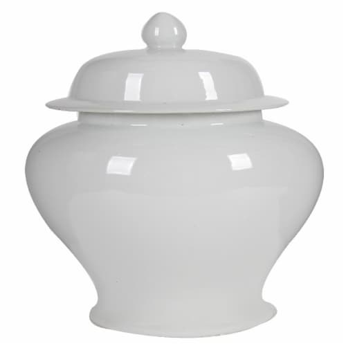 Benzara Decorative Porcelain Ginger Jar with Lidded Top - White Perspective: front
