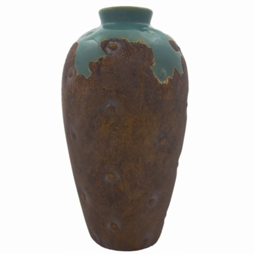 Benzara Distressed Ceramic Vase - Brown/Green Perspective: front