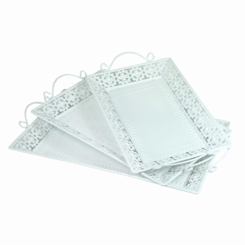 Benzara BM165034 Metal Tray with Handle - White, Set of 3 Perspective: front