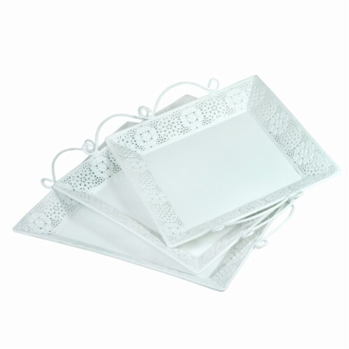 Benzara BM165037 Metal Tray with Handle - White, Set of 3 Perspective: front