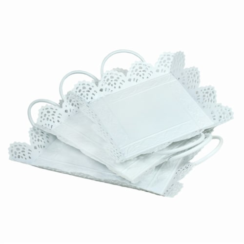 Benzara BM165039 Metal Tray with Cutout Design - White, Set of 3 Perspective: front