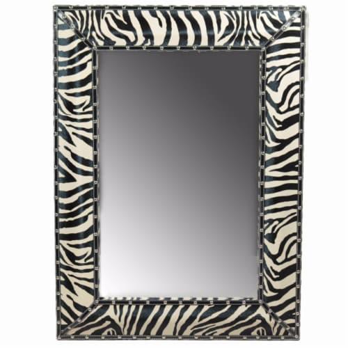 Benzara Wooden Striped Mirror - Black/White Perspective: front