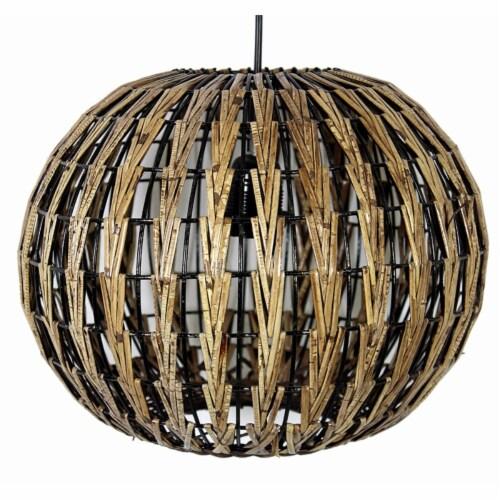 Benzara Pumpkin Rattan Hanging Lantern - Brown Perspective: front