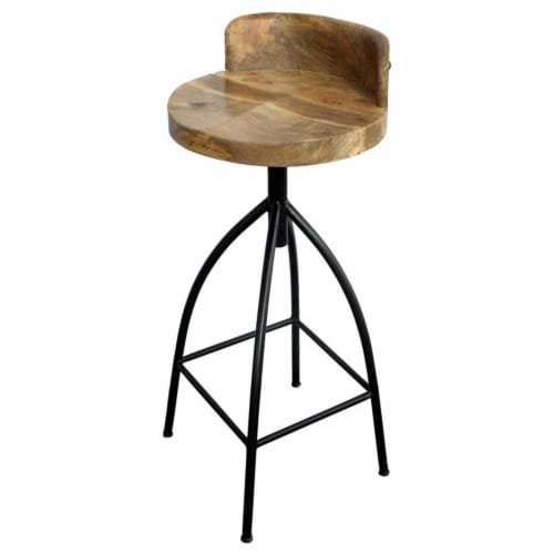 Industrial Style Adjustable Swivel Bar Stool With Backrest ,Saltoro Sherpi Perspective: front
