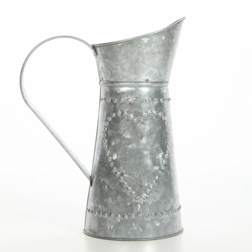 Galvanized Metal Pitcher with Embossed Design, Gray ,Saltoro Sherpi Perspective: front