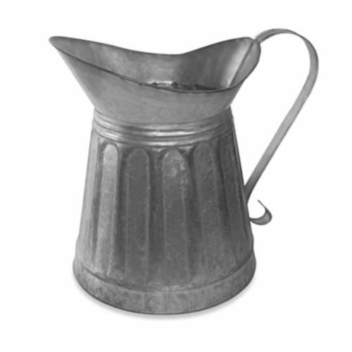Benzara Vintage Style Galvanized Metal Milk Pitcher - Gray Perspective: front