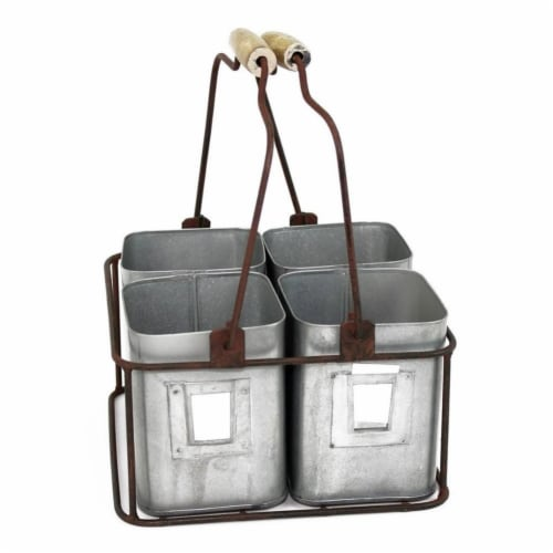 Galvanized Metal Four Tin Storage Organizer with Movable Wooden Handle,Gray , Saltoro Sherpi Perspective: front