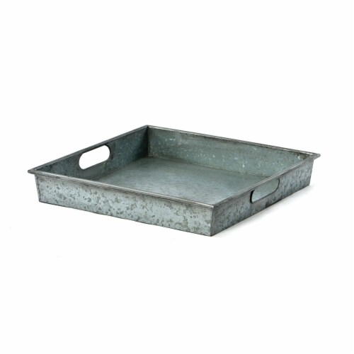Square Galvanized Metal Tray With Handle, Gray ,Saltoro Sherpi Perspective: front