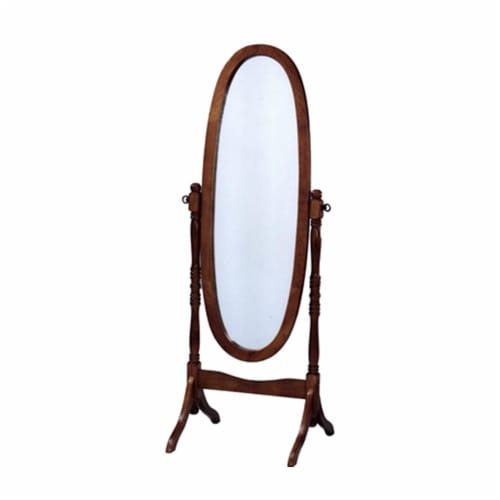 Benzara Cheval Inspired Wooden Full Length Mirror - Oak Brown Perspective: front