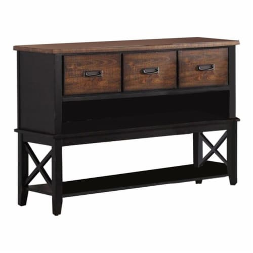 Benjara 52  Contemporary Rubber Wood Server with Spacious Storages in Brown Perspective: front