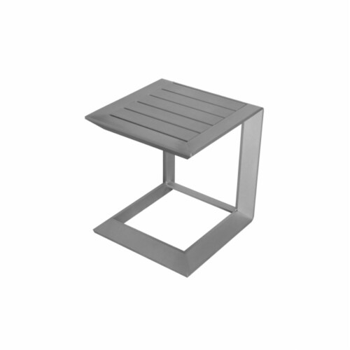 Sleekly Cultivated Contemporary Aluminum Side Table in Silver Perspective: front