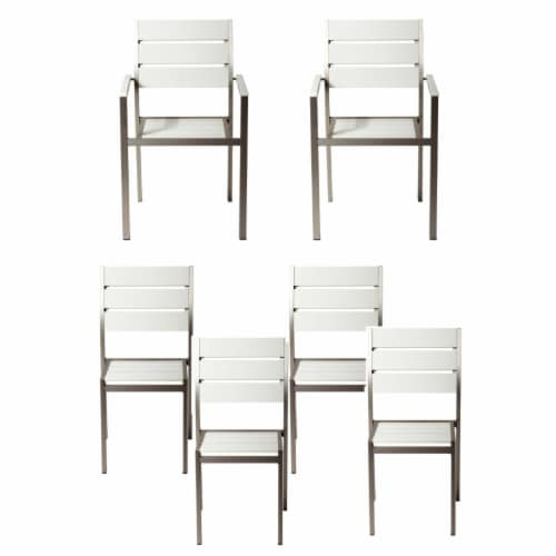 Modern Style Metal Chairs With Slated Back Set of 6 Gray and White Perspective: front