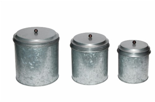 Benzara Galvanized Metal Lidded Canister - Gray Perspective: front